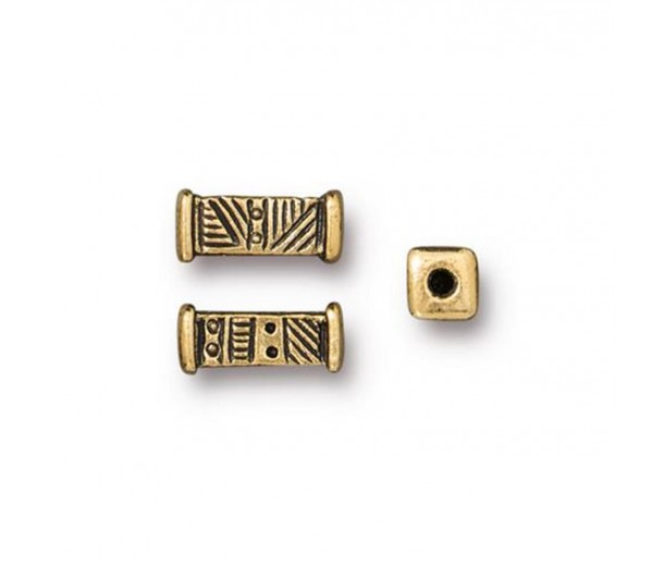 10mm Woven Square Tube Bead by TierraCast, Antique Gold