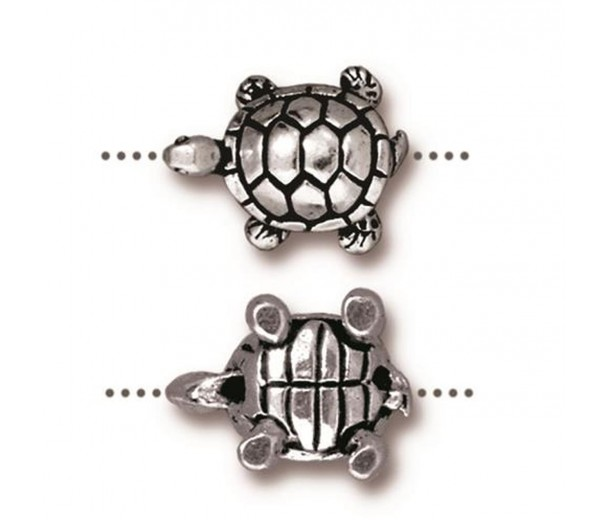 15mm Turtle Bead by TierraCast, Antique Silver