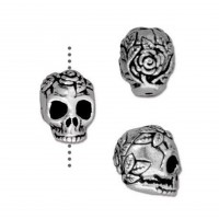 10mm Rose Skull Bead by TierraCast, Antique Silver