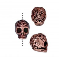 10mm Rose Skull Bead by TierraCast, Antique Copper