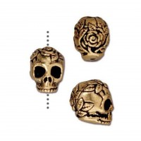 10mm Rose Skull Bead by TierraCast, Antique Gold