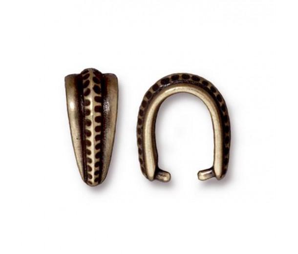 14mm Large Hammertone Pinch Bail by TierraCast, Antique Brass