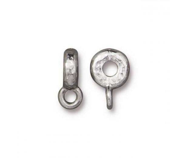 12mm Hammered Slider Bail by TierraCast, Rhodium Plated