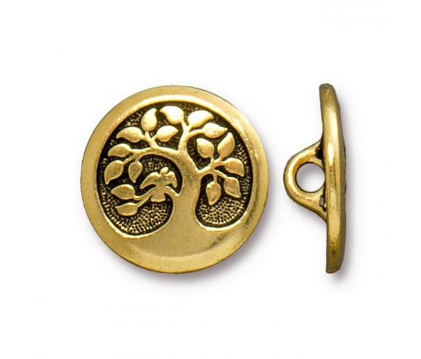 17mm Tree of Life Button by TierraCast, Antique Gold