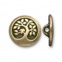 17mm Tree of Life Button by TierraCast, Antique Brass
