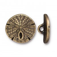 17mm Sand Dollar Button by TierraCast, Antique Brass