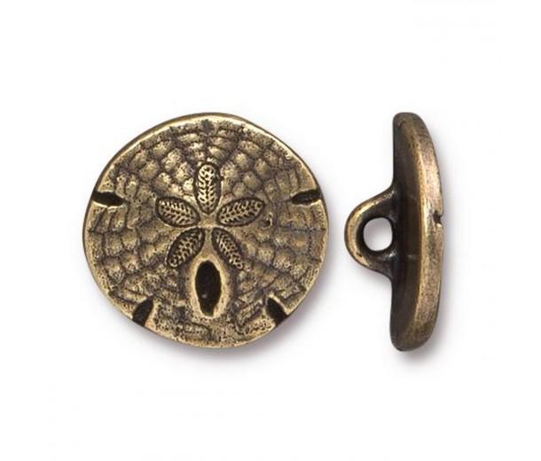 17mm Sand Dollar Button by TierraCast, Antique Brass