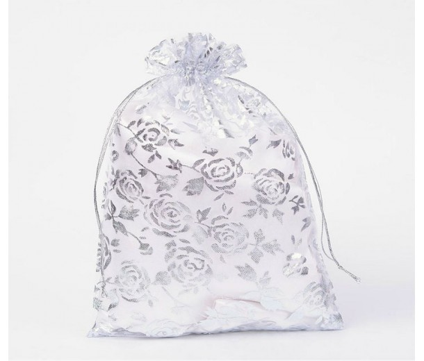 Organza Pouch, Clear and Silver with Flower Pattern, 9x6.6 inch