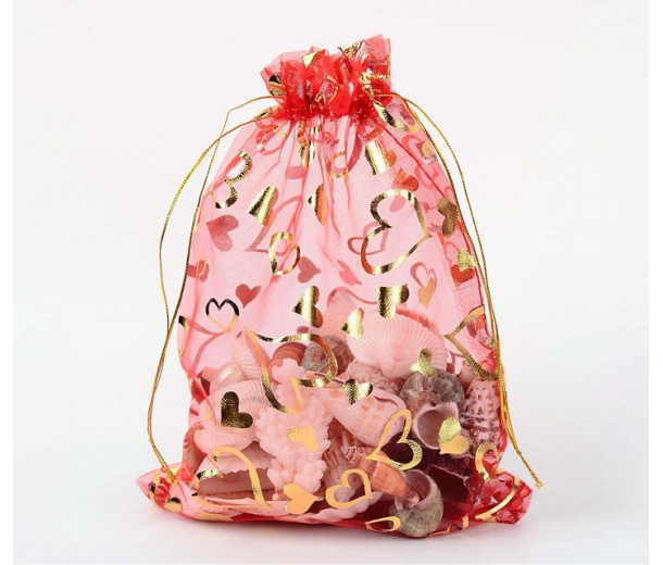 Organza Pouch, Red and Gold with Heart Pattern, 9x6.6 inch