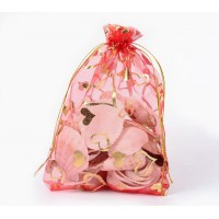 Organza Pouch, Red and Gold with Heart Pattern, 7x5 inch