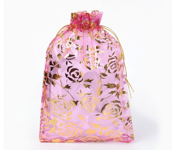 Organza Pouch, Magenta and Gold with Flower Pattern, 7x5 inch