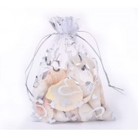 Organza Pouch, Clear and Silver with Heart Pattern, 7x5 inch