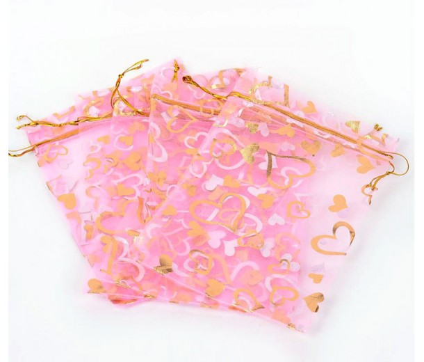 Organza Pouch, Pink and Gold with Heart Pattern, 7x5 inch
