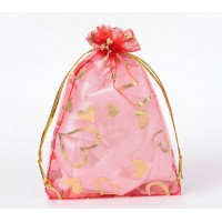 Organza Pouch, Red and Gold with Heart Pattern, 5.5x4 inch