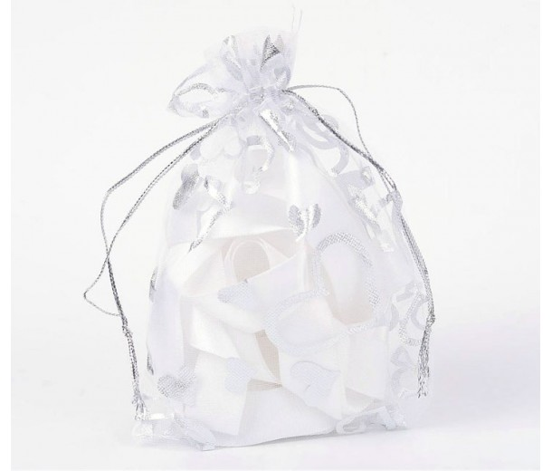 Organza Pouch, Clear and Silver with Heart Pattern, 5.5x4 inch