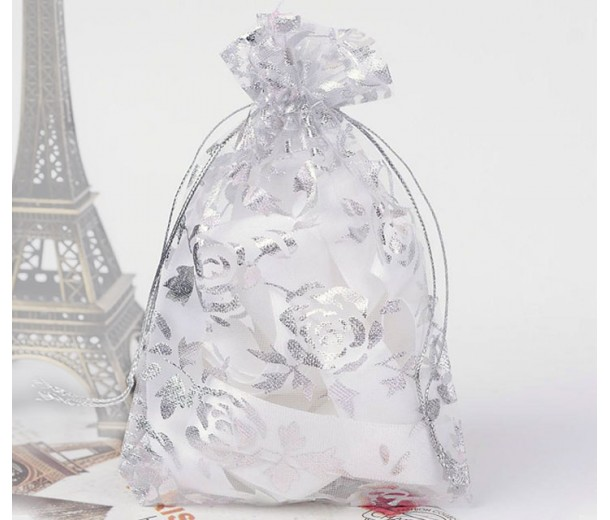 Organza Pouch, Clear and Silver with Flower Pattern, 5.5x4 inch