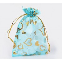 Organza Pouch, Light Blue and Gold with Heart Pattern, 5.5x4 inch