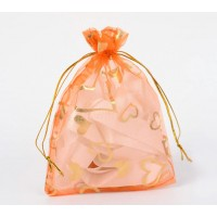 Organza Pouch, Orange and Gold with Heart Pattern, 5.5x4 inch