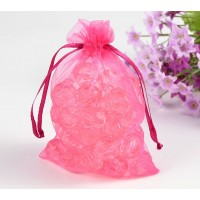 Organza Pouch, Pink Sheer, 5.5x4 inch
