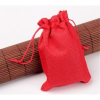 Burlap Drawstring Pouch, Solid Bright Red, 5.5x4 inch