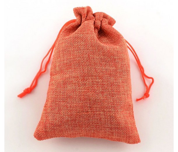 Burlap Drawstring Pouch, Solid Coral, 5.5x4 inch