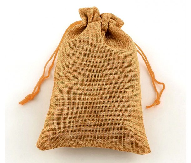 Burlap Drawstring Pouch, Solid Wheat Brown, 5.5x4 inch