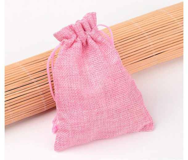 Burlap Drawstring Pouch, Solid Pink, 5.5x4 inch
