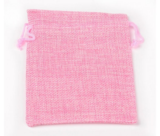 Burlap Drawstring Pouch, Solid Pink, 7x5 inch