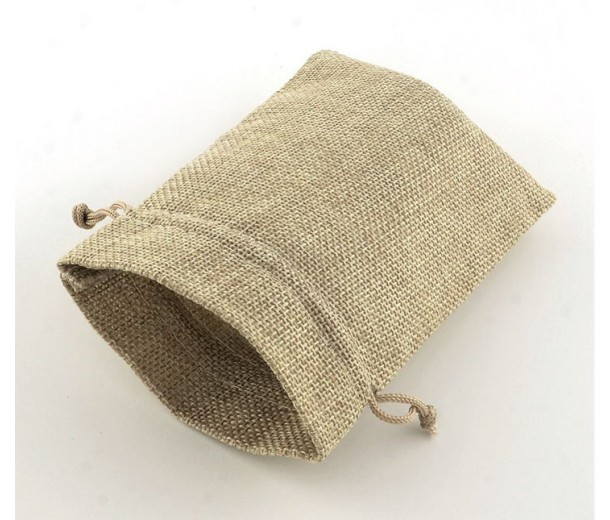 Burlap Drawstring Pouch, Solid Beige, 5.5x4 inch