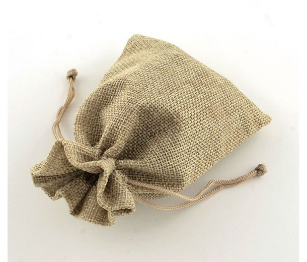 Burlap Drawstring Pouch, Solid Beige, 7x5 inch