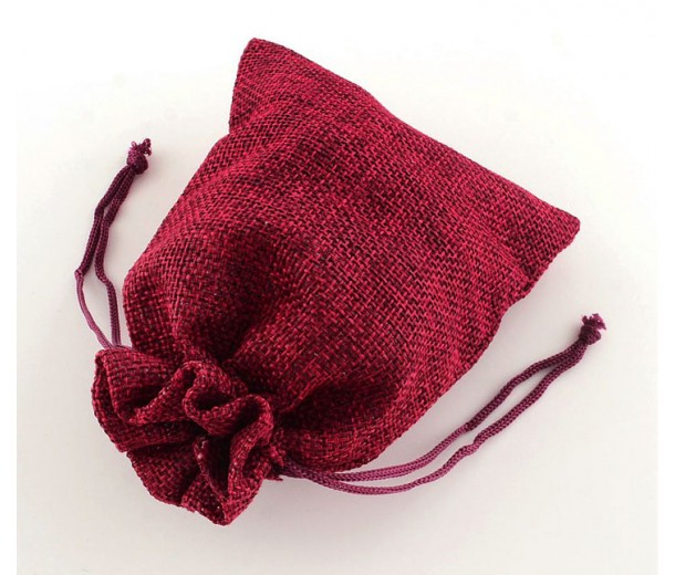 Burlap Drawstring Pouch, Solid Dark Red, 5.5x4 inch