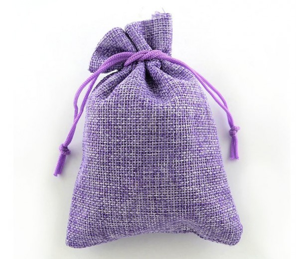 Burlap Drawstring Pouch, Solid Lilac, 7x5 inch