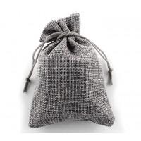 Burlap Drawstring Pouch, Solid Dark Grey, 5.5x4 inch