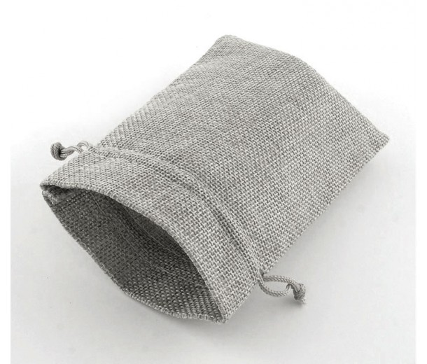 Burlap Drawstring Pouch, Solid Light Grey, 7x5 inch