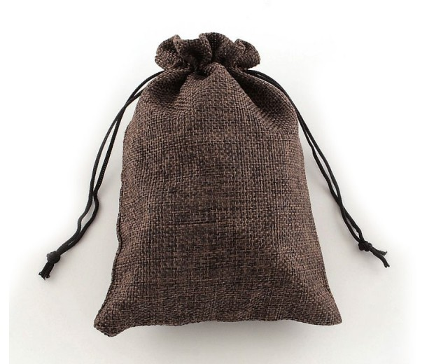 Burlap Drawstring Pouch, Solid Dark Brown, 5.5x4 inch