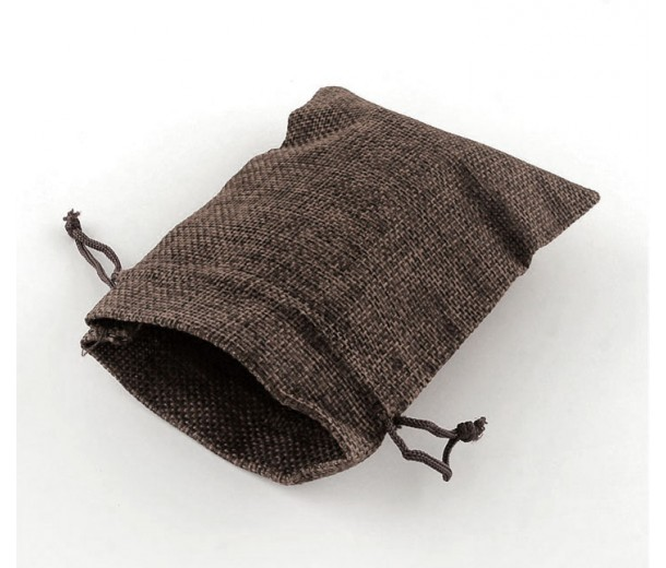 Burlap Drawstring Pouch, Solid Dark Brown, 7x5 inch