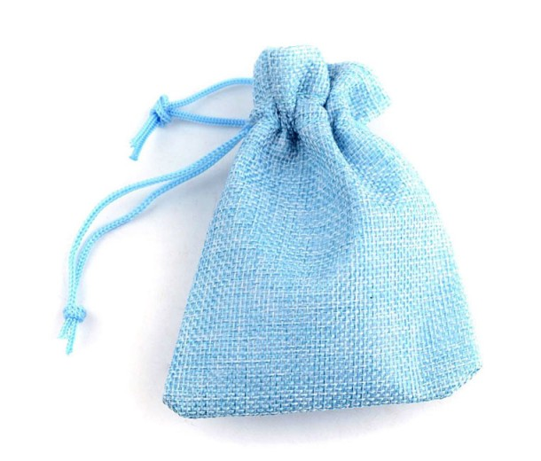 Burlap Drawstring Pouch, Solid Light Blue, 5.5x4 inch