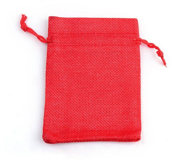 Burlap Drawstring Pouch, Solid Bright Red, 7x5 inch