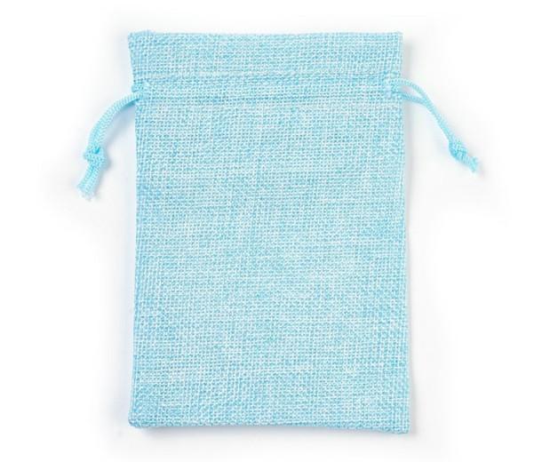Burlap Drawstring Pouch, Solid Cyan Blue, 5.5x4 inch