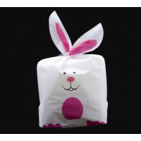 Plastic Bunny Bag, White and Pink, 8.5x5.5 inch