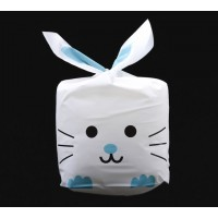 Plastic Bunny Bag, White and Blue, 8.5x5.5 inch
