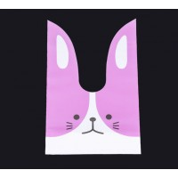 Plastic Bunny Bag, Pink and White, 8.5x5.5 inch
