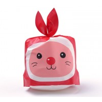 Plastic Bunny Bag, Red and Pink, 8.5x5.5 inch
