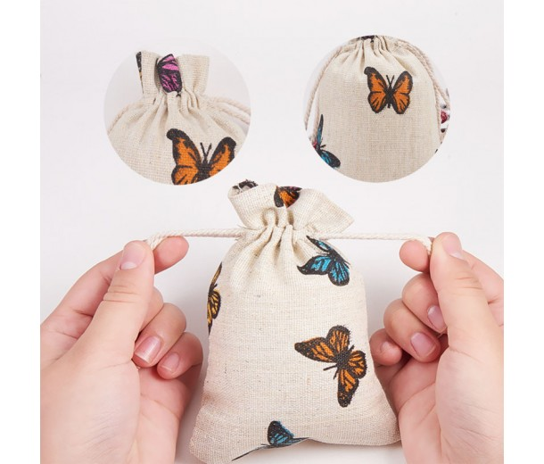 Cotton Drawstring Pouch, Butterfly Print on Beige, 5.5x4 inch