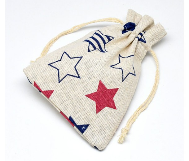 Cotton Drawstring Pouch, Star Print on Beige, 5.5x4 inch