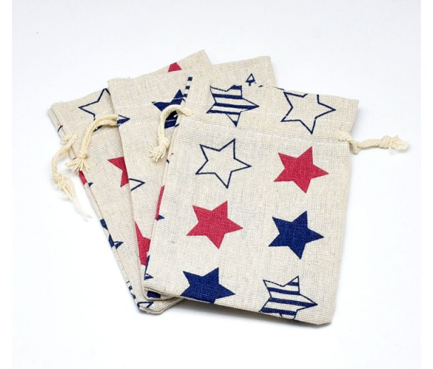 Cotton Drawstring Pouch, Star Print on Beige, 5.5x4 inch