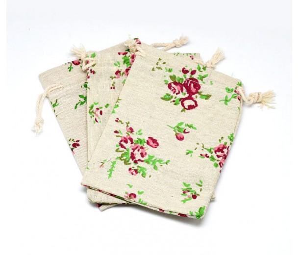Cotton Drawstring Pouch, Rococo Print on Beige, 5.5x4 inch
