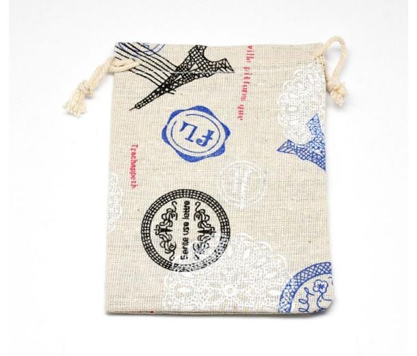 Cotton Drawstring Pouch, Travel Print on Beige, 5.5x4 inch