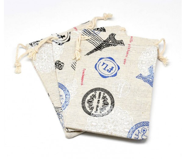 Cotton Drawstring Pouch, Travel Print on Beige, 5.5x4 inch