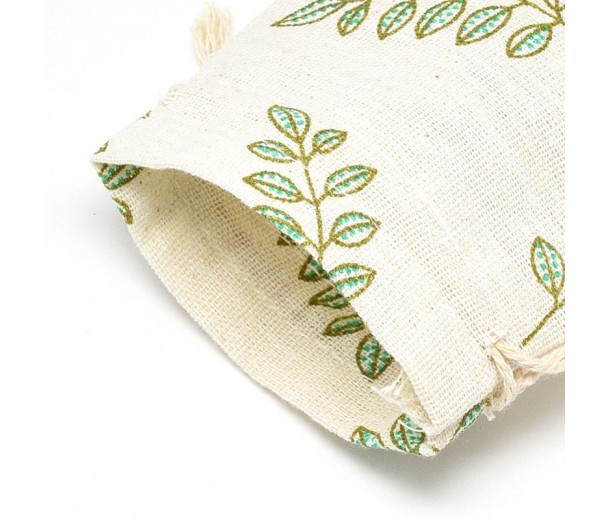 Cotton Drawstring Pouch, Leaf Print on Beige, 5.5x4 inch
